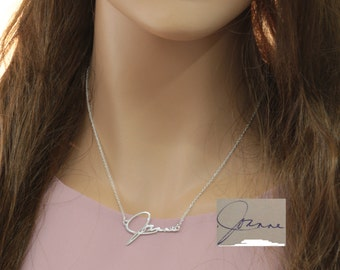 925 Sterling Silver Signature Necklace, Custom Hand Written Name Necklace, Personalized Memorial Jewelry, Christmas Gift