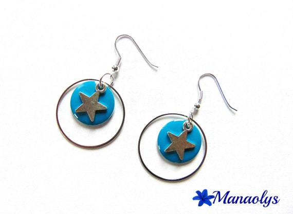 Hoop earrings, silver rings round enameled charms and silver stars