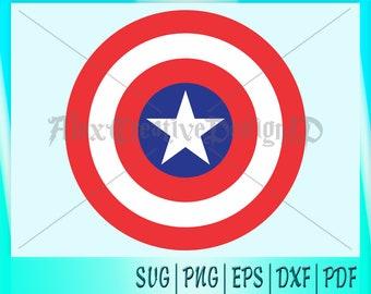 Captain America Logo, Superhero SVG, Captain America SVG, Captain America Sheild, Silhouette Cutting file, eps, svg, dxf , Avengers