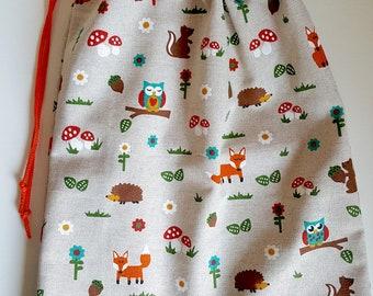 Pocket, Pyjamazag, projectbag with forest animals, animals, drawstring