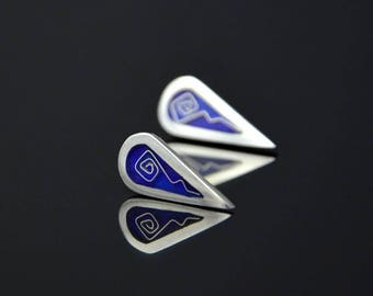 """Silver cloisonne with blue shappire colours earrings from """"The Icicles"""" series"""