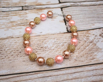 Coral and gold chunky necklace, baby girl necklace, chunky bead necklace, birthday girl necklace, infant girl necklace, baby jewelry
