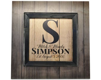 Personalized Framed Rustic Sign Family Name Sign Pallet Wood Design 22x22