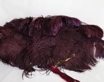 Large Vintage 1920s purple ostrich feather fan, fake tortoise shell, gothic feather fan, burlesque fan, steampunk feather fan