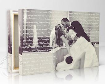 First Dance Lyrics/ Wedding Canvas Photo Decor Words Vows lyrics/ Anniversary or Wedding Art