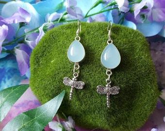 Mystical chrysoberyl crystal dragon fly earrings