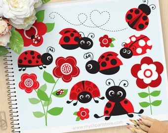 Ladybug Garden Clipart, Red ladybugs, ladybirds, flowers, spring garden, gardening clipart, commercial use, vector clipart, SVG Cut files
