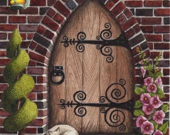 Original Painting Gothic Arched Door