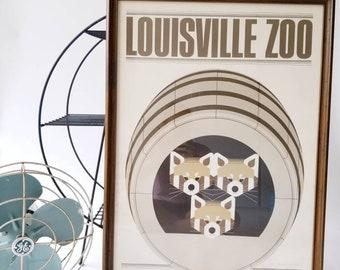 Vintage Original Charley Harper Louisville Zoo Red Pandas Framed Print