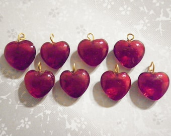 8 Vintage 18mm Glass Ruby Red Heart Charms