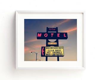 "neon sign, vintage neon sign, large art, large wall art, modern, contemporary, lavender, purple, vintage ad, wall art, art - ""Hi Line Motel"""