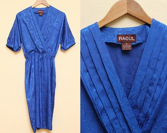 Silky Blue Dress // Wrapped Dress // 1980s Raoul Pleated Silk Polyester Short Sleeve Size 10 Small Medium