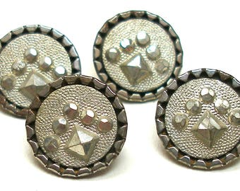 "4 Antique BUTTONS, Victorian faux steel in pewter. 1/2""."