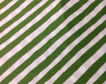 Its Christmas by Jennifer Heyden for In The Beginning, Christmas Fabric, Green and White Stripe, Fabric by the Yard , OOP