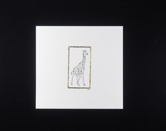 Miniature pen drawing of a Giraffe facing right with gold leaf border