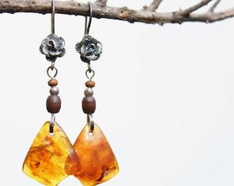 Amber earrings, Vintage earrings, Baltic amber earrings, Dangle earrings, Earrings amber, Honey amber Sterling silver earrings Handmade Gift