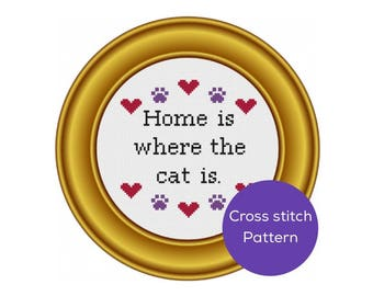 Home is Where the Cat is Cross Stitch Pattern