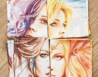 4 paper Napkins / / Cotton fabric / / sytle Fairies / / women's portrait / / 4 napkins / / cotton fabric