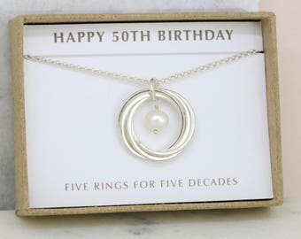 50th birthday gift, June birthstone necklace 50th, pearl necklace for 50th birthday - Lilia