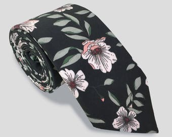 Black Floral Skinny Tie, Men's Skinny Tie, Floral Tie, Black and Blush Wedding Tie, Grooms Skinny Tie, Groomsmen Ties, Cotton Skinny Tie