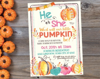 Fall Gender Reveal Invitations, What Will Our Little Pumpkin Be Invite, Gender Reveal Invite, Little Pumpkin Gender Reveal, Fall Baby Shower