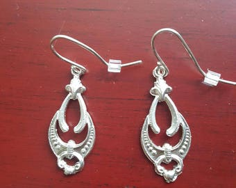 Antique Style Sterling Silver Earrings  Hand Cast