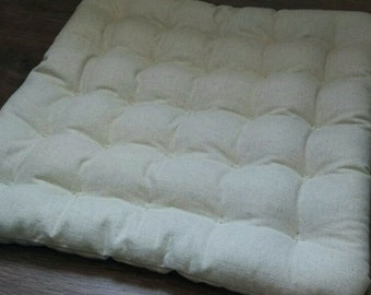 "Large Floor cushion Buckwheat hulls ""Vanilla hemp""/Massage Orthopedic/ buckwheat/ Pillow seat/Meditation Yoga /Natural/Car seat"