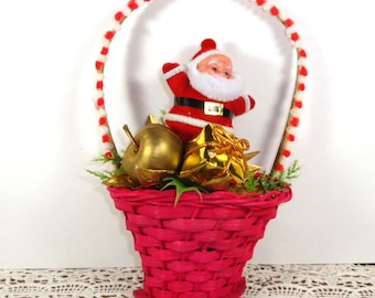 Vintage Christmas Decoration, Ornament, Santa In A Basket, Holiday Decor, New Old Stock  (676-13)