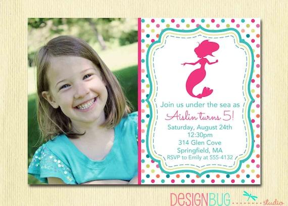 Mermaid Birthday Invitation 1 2 3 4 5 year old ANY Age