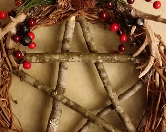 Stag Horn Pentacle Wreath