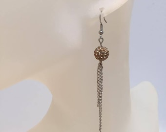 Gold chains and shamballa bead earrings