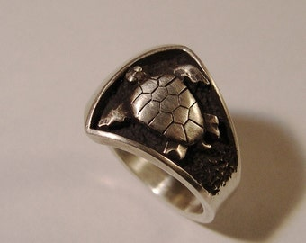 Sea Turtle Ring, Turtle Ring, Sterling Silver