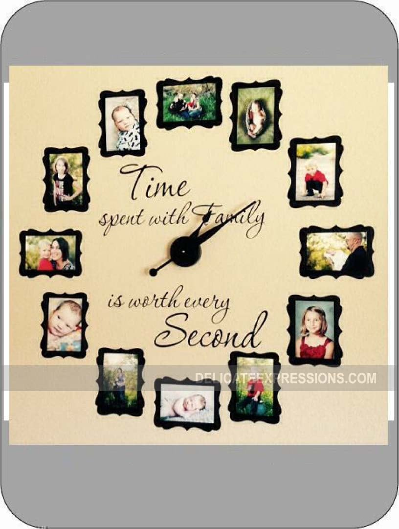 Time Spent with Family Clock Decal, Large FAMILY PHOTO Wall Clock ...