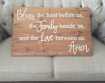Bless The Food Before Us Sign, Bless The Food Before Us The Family Beside Us And The Love Between Us Amen, Family Blessing Sign