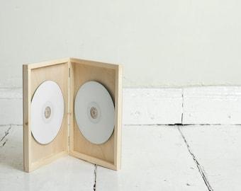 Double DVD case, wooden box, keepsake box, natural wood , wedding keepsake, dvd keepsake, cd case, cd box, dvd box