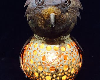 Owl Handmade Coconut Shell Wood Table Lamp Bedside Desk Lamp for Decor Gift