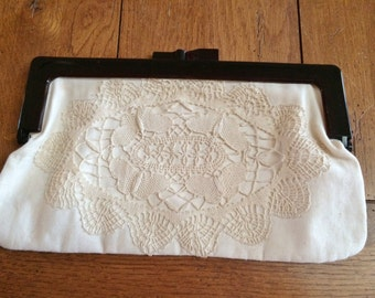 Boho Clutch Purse Linen Lace Dark Brown Tortoiseshell Lucite Rikes Made in Italy Vintage