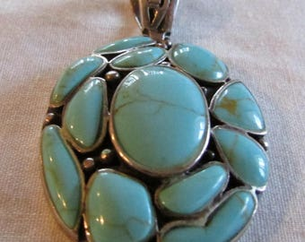 Sterling Silver and Faux Turquoise Pendant
