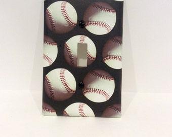 Baseball Light Switch Outlet Cover Handmade Switchplate Baseball Bedroom Bathroom  Nursery Decor Sports Bedroom Teen Boys Bedroom