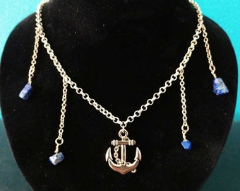Nautical Anchor Necklace with Sea Blue Stones- FREE SHIPPING!