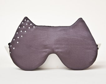 Sleep Mask with the Crystal Rhinestones, Cat Mask dark gray Party Mask, Cute Girlfriend Gift, Bachelorette Party Mask, Eye Mask for Women