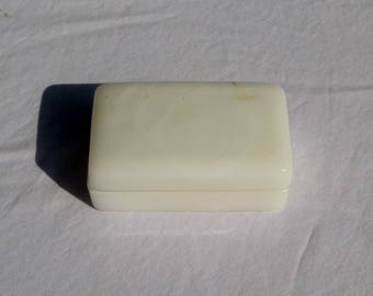 antique milk glass soap dish with lid for traveling
