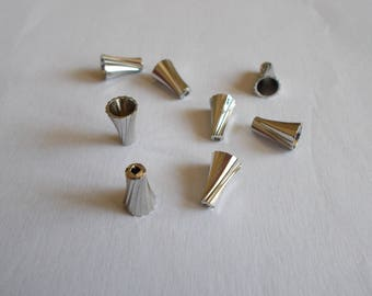 1 set of 8 beads or silver metal caps