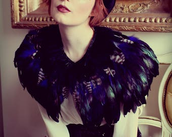 Black, blue and natural feather shrug, steampunk cape, feathered capulet