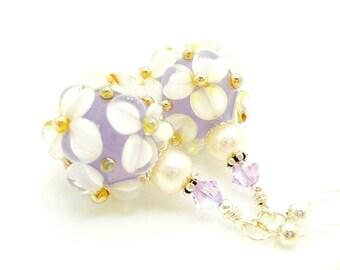 Violet Purple Earrings, Pearl Earrings, Lampwork Earrings, Glass Bead Earrings, Glass Earrings, Flower Earrings, Beadwork Earrings