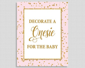 Decorate a Onesie for the Baby Sign, Pink & Gold Glitter Shower Sign, Baby Girl Shower Sign,  INSTANT PRINTABLE