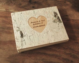 birch wood instant photo guestbook - unique wedding anniversary gift wood book rustic natural  family memorial scrapbook  made to order