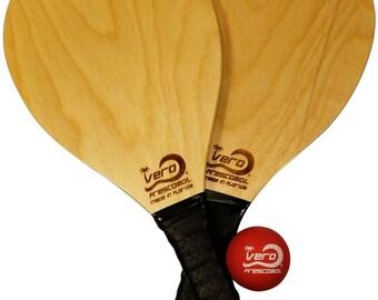 Frescobol Beach Paddles, Official ball & beach tote bag, Made in USA. frescoball game