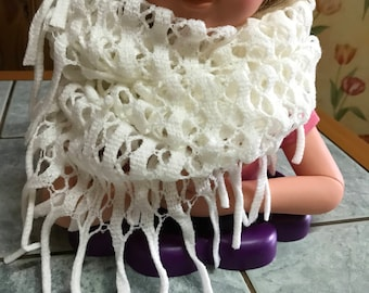 White for women or teens acrylic closed scarf or snood