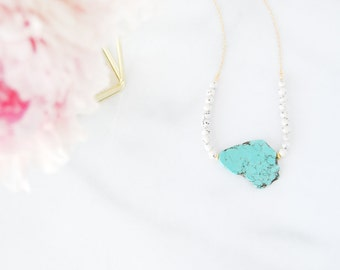 Turquoise and Stone Beads Necklace - Unique Gemstone Statement Necklace - Semi Precious - Gift for Her - Made to Order - Black and White